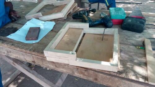 Premiers essais du modèle de tuile en terre cuite